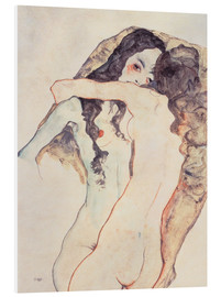 Foam board print  Two women in embrace - Egon Schiele