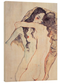 Wood  Two women in embrace - Egon Schiele