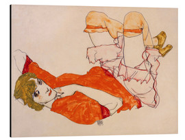 Aluminium print  Wally in a red blouse with knees lifted up - Egon Schiele