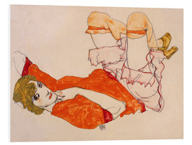 Forex  Wally in a red blouse with knees lifted up - Egon Schiele