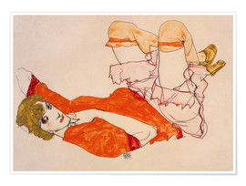 Egon Schiele - Wally in a red blouse with knees lifted up