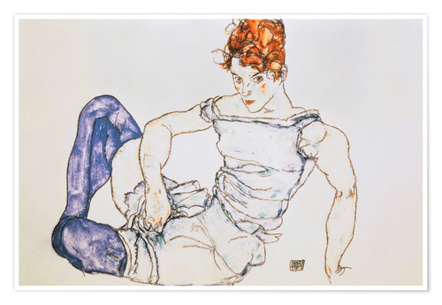 Premium poster Seated Woman with violet stockings