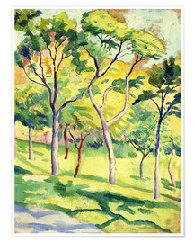 Poster  Trees on a lawn - August Macke