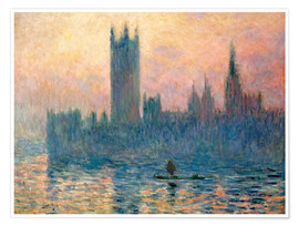Premium poster  Parliament in London at sunset - Claude Monet
