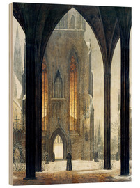 Wood print  Cathedral in Winter - Ernst Ferdinand Oehme