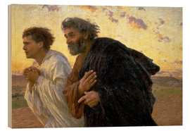 Wood print  Morning of the resurrection, Peter and John on their way to the grave - Eugene Burnand