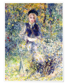 Poster Young girl on a garden bench