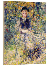 Wood print  Young girl on a garden bench - Pierre-Auguste Renoir