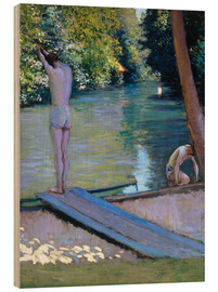 Wood print  Bathers on the banks of the Yerres - Gustave Caillebotte
