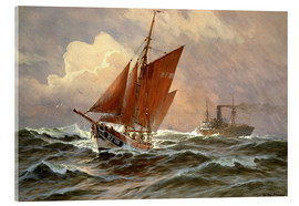 Acrylic glass  Sailors and steamboat on the North Sea - Willy Stöwer