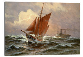 Aluminium print  Sailors and steamboat on the North Sea - Willy Stöwer