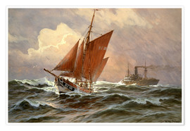 Poster  Sailors and steamboat on the North Sea - Willy Stöwer
