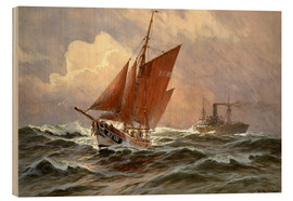 Wood print  Sailors and steamboat on the North Sea - Willy Stöwer