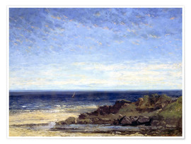 Poster  Blue sea - blue sky - Gustave Courbet