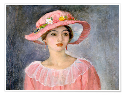 Premium poster The pink hat