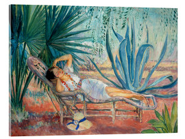 Acrylic print  Marthe sleeping in a deck chair in Saint-Tropez - Henri Lebasque