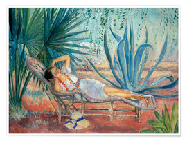 Premium poster Marthe sleeping in a deck chair in Saint-Tropez