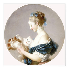 Jean-Honoré Fragonard - Girl with a dog and a cat