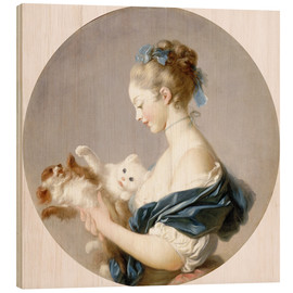Wood print  Girl with a dog and a cat - Jean-Honoré Fragonard