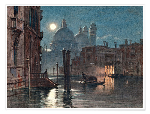 Premium poster Venice at moonlight