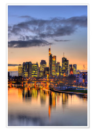 Premium poster  Frankfurt skyline reflected in the Main - HADYPHOTO by Hady Khandani