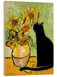Wood print  The cat of Van Gogh - JIEL