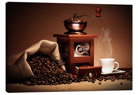 Canvas print  Coffee grinder with beans and cup - pixelliebe