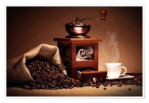 Premium poster Coffee grinder with beans and cup