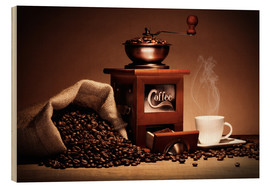 Wood print  Coffee grinder with beans and cup - pixelliebe