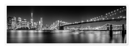 Premium poster New York and Brooklyn Bridge (monochrome)