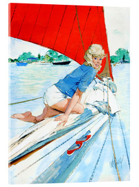 Acrylic print  Blonde Pin Up on Sailboat - Al Buell