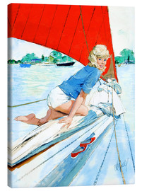 Canvas print  Blonde Pin Up on Sailboat - Al Buell