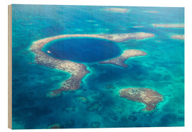 Wood print  Great Blue Hole, Belize - Matteo Colombo
