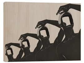 Wood print  people mountain people sea No 3 - Mojo Wang
