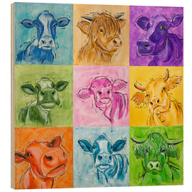 Wood print  Big cows parade - Annett Tropschug