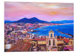 Foam board print  Naples with Mount Vesuvio - M. Bleichner