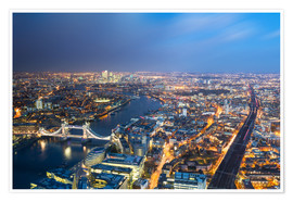 Poster  Cityscape of London at night - Circumnavigation