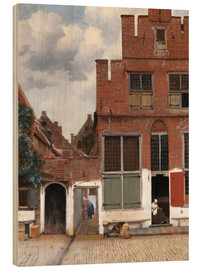 Wood print  The little street - Jan Vermeer