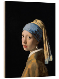 Wood print  Girl with the Pearl Earring - Jan Vermeer