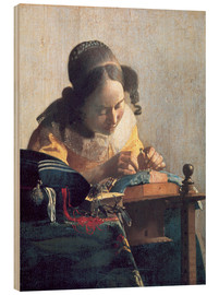 Wood print  The lace clipper - Jan Vermeer
