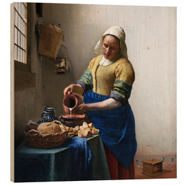 Wood print  The Milkmaid - Jan Vermeer