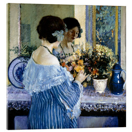 Acrylic print  Girl in Blue arranging flowers - Frederick Carl Frieseke