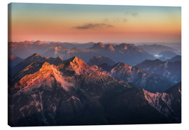 Canvas  Alps Panorama from Zugspitze at Sunrise - Andreas Wonisch