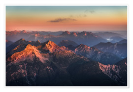 Poster  Alps Panorama from Zugspitze at Sunrise - Andreas Wonisch