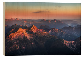 Wood print  Alps Panorama from Zugspitze at Sunrise - Andreas Wonisch
