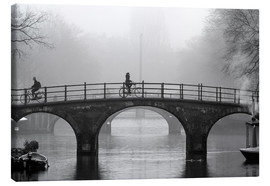 Canvas  Amsterdam canal in black and white - George Pachantouris