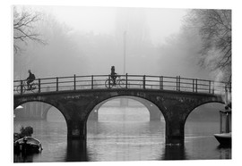 Foam board print  Amsterdam canal in black and white - George Pachantouris