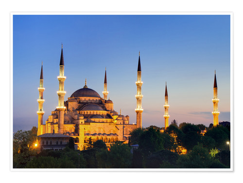 Poster Blue Mosque at twilight