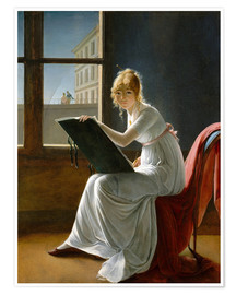 Premium poster  Young Woman Drawing - Marie-Denise Villers