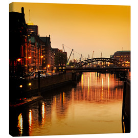 Canvas print  Hamburg harbor sunset - bildpics